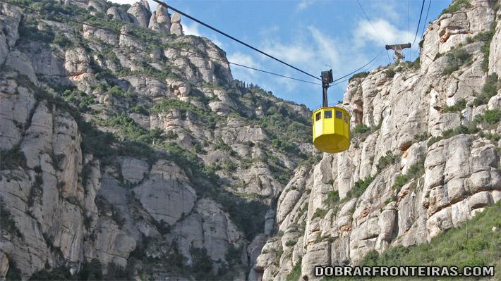 Teleférico para o mosteiro de Montserrat, Catalunha