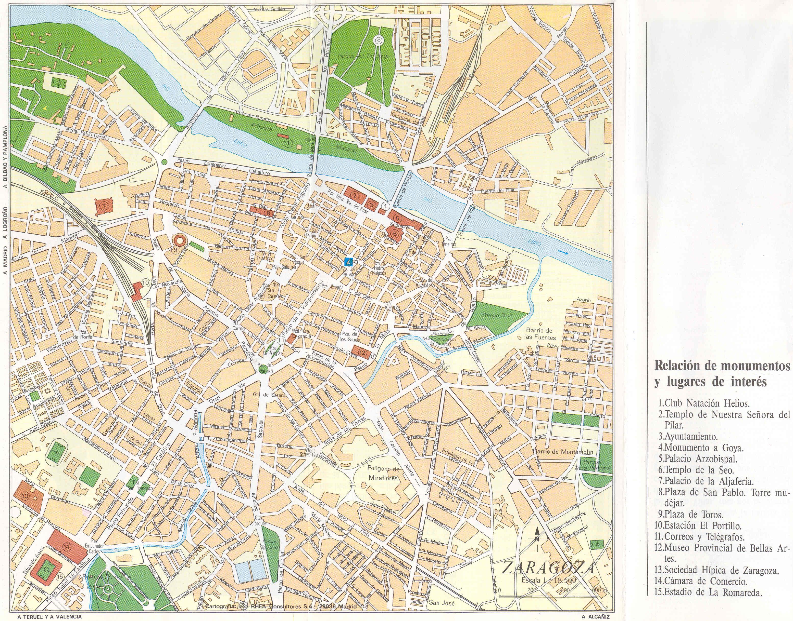 Mapa Turistico De Zaragoza Espanha Dobrar Fronteiras