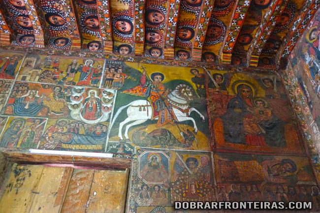 Frescos na igreja de Debre Birhan Selassie em Gondar