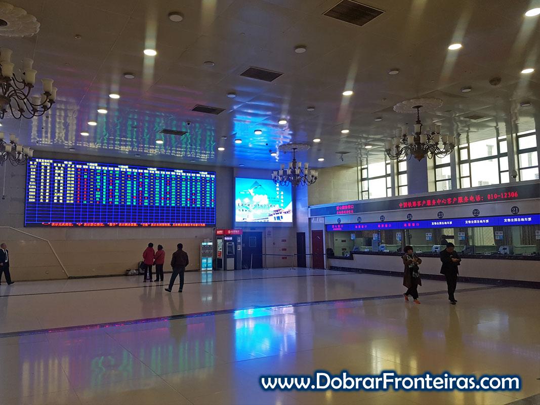 Bilheteira da estação central de comboios de Pequim