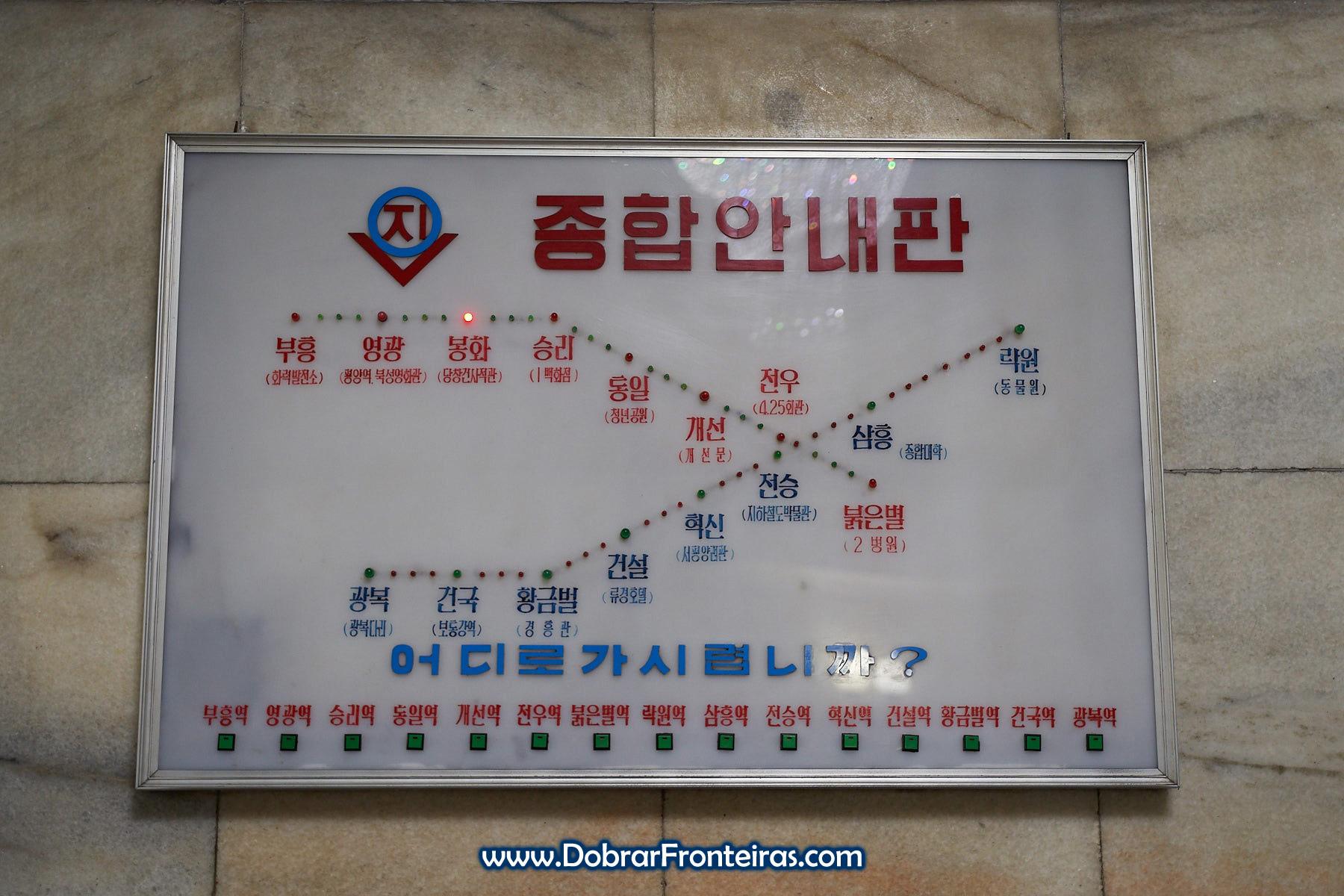 Mapa do Metro de Pyongyang
