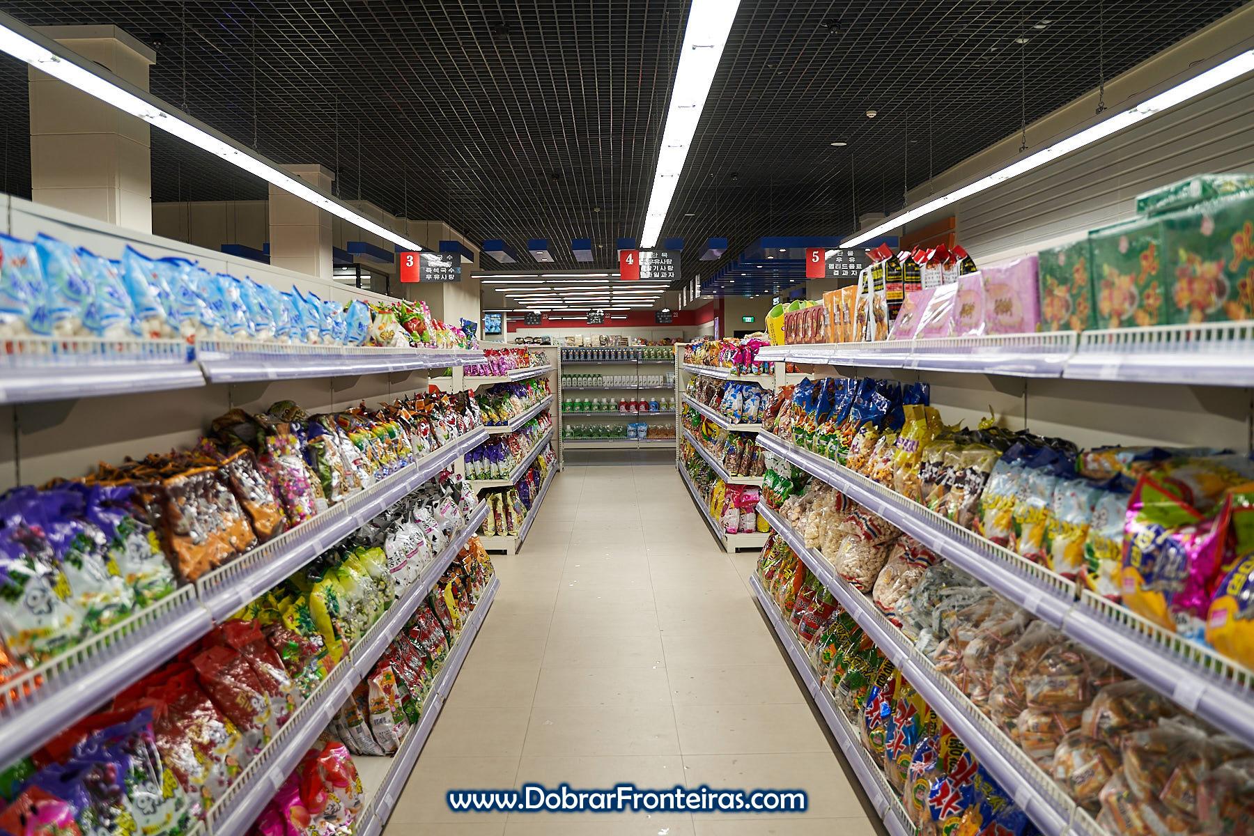 Prateleiras de supermercado de Pyongyang
