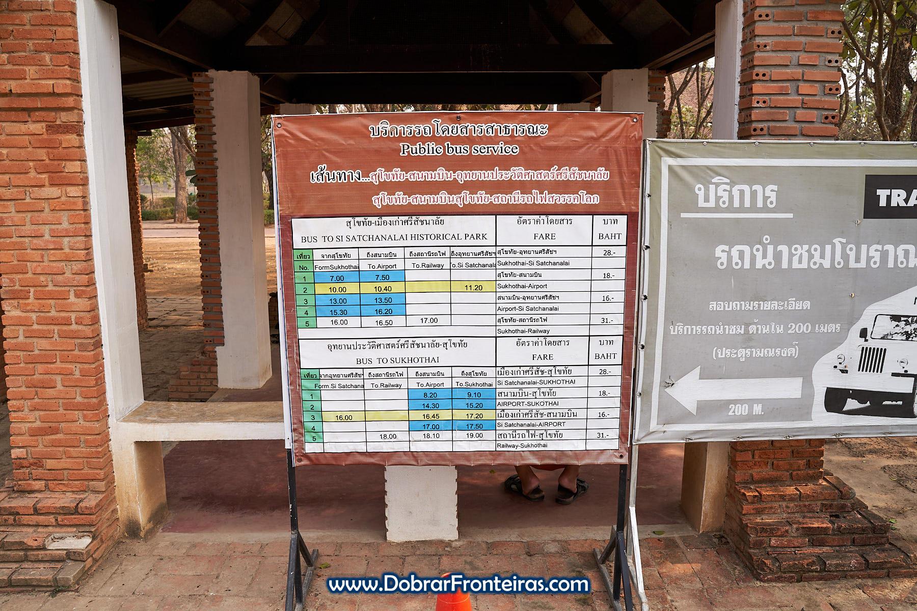 Horário de autocarros Si Satchanalai, Sukhothai