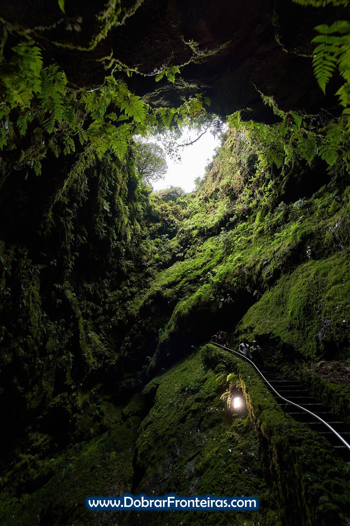 Escadas no interior do algar do Carvão
