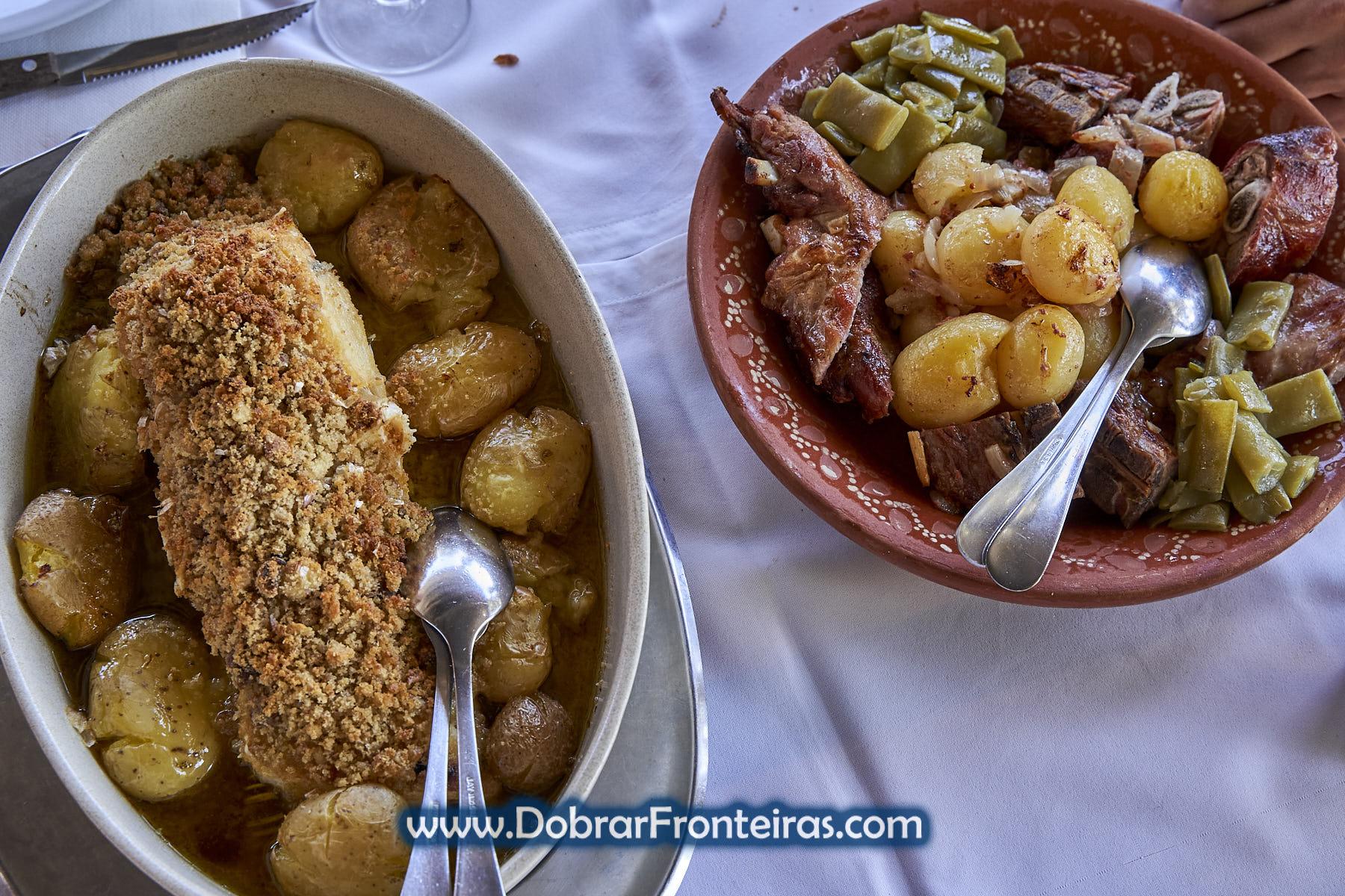 Prato de bacalhau com broa e de cabrito